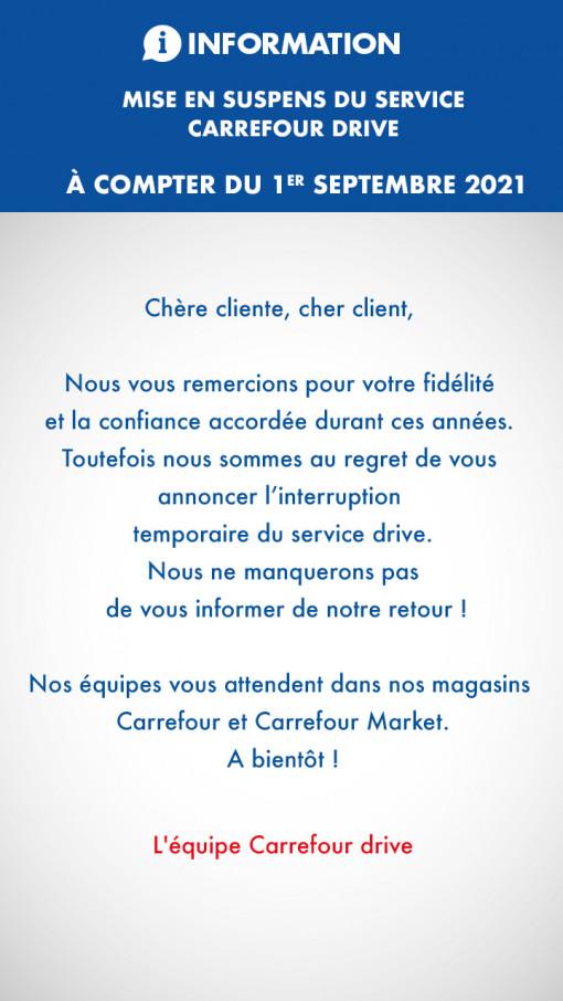 mise en suspend du service Carrefour drive